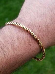 Pure Copper Brass Twisted Hindu Sikh Adjustable Lion Head Healing Kara Bangle A6