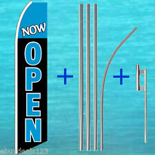 Now Open Flutter Feather Flag + 15' Tall Pole + Mount Swooper Banner Sign 1203