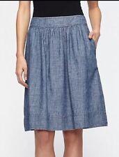 XL Eileen Fisher Hemp/Organic Cotton Blue Chambray Denim A-Line Skirt  $158 NEW