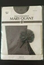 VINTAGE MARY QUANT BLACK FRILLY BOW FANCY STOCKINGS ONE SIZE
