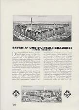 Bavaria-St. Pauli-Brauerei Hamburg ARTIKEL von 1926 Altona Astra Pils
