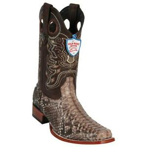Men's Wild West Rustic Brown Python Wide Square Toe Boots Handcrafted