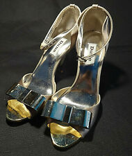 Dune Silver & Gold Hight Cone Heel Shoes Size 37 / UK SIze 4