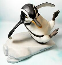 Franklin Mint Hand Painted Porcelain Penguin on Ice Whoops Figurine figure 1985