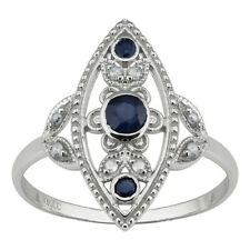 10k White Gold Antique Style Genuine Round Sapphire and Diamond Ring size 6