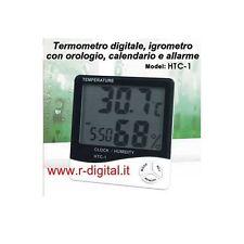 TERMOMETRO DIGITALE LCD OROLOGIO IGROMETRO UMIDITA TEMP