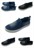 Women's Denim Jeans Wedge Platform Loafers Sneakers Slip On Sports Canvas Shoes