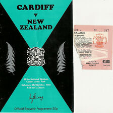 NEW ZEALAND ALL BLACKS TOUR 1978 v CARDIFF RUGBY PROGRAMME & TICKET
