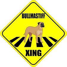 "Bullmastiff Xing Crossing Road Sign 5"" Dog Silhouette Sticker"