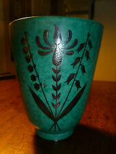 Vintage Gustavsberg Argenta-Cone Vase 978O-Florals-Turquoise/Silver-Sweden-Label