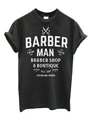 """T SHIRT UOMO """"Barber Man"""" White Logo - maglietta in cotone - GRAFITE"""
