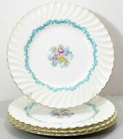 Four Minton Ardmore Dinner Plates 5363 Turquoise Leaf Floral Pink Yellow Peonies