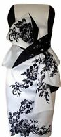 KAREN MILLEN Oriental Embroidered Satin Wiggle Pencil Dress Wedding Guest Party