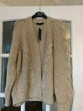 LOVELY BNWT M&S OATMEAL CHUNKY KNIT CABLE PATTERN OPEN FRONT CARDIGAN L