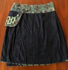 BOOM SHANKAR Rosanna Reversible Wrap Skirt Denim Patterned Free Size Adjustable