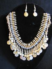 Leopardskin Jasper Cystal Gold Plated metal beads Statement Necklace