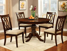 NEW ANDERS ROUND BROWN CHERRY FINISH WOOD PEDESTAL DINING TABLE SET w/ CHAIRS