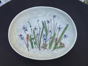 "Salt Marsh Pottery Scilla Winter Beauty Oval Dish Bowl 12x9.25"" Signed MT 1990"