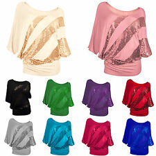 Womens Sequins Batwing Long Sleeve Blouse Loose Casual Tee Shirt Tops Oversized