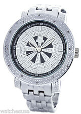 Techno Master Mens Black Dial Stainless Steel Bracelet Diamond Watch TM-2132