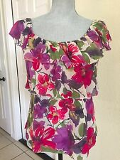 SWEET PEA Stacy Frati Large Pink Purple Flower Ruffle Tier Long Sleeve Top Shirt