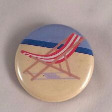 """Beach Lounge Chair Red White Striped Button Pin Badge Small 1.5"""" Pinback"""