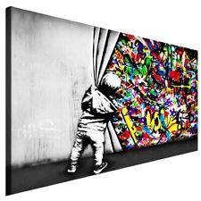 Banksy Kinder Hinter Vorhang Graffiti Leinwand Bild Streetart Wandbild 777