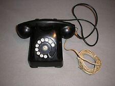Vintage Bakelite Kellog 1000 Series Rotary Desk Phone Black w/ Red Bar Art Deco