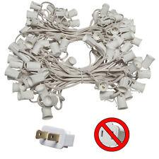 100 Ft C7 Christmas Light Stringer White Wire Indoor/Outdoor Patio 100-Socket