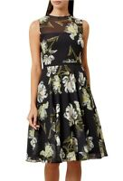 HOBBS EVE SHEER BLACK FLORAL CHIFFON 50'S FIT N FLARE SKATER DRESS 10 £159 ONCE