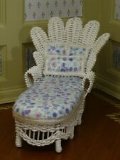 BJR White Wicker Lounge Chair Nicely Upholstered - Artisan Dollhouse Miniature