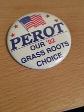 Rare ROSS PEROT Our '92 Grassroots Choice Pin  button political 1992 Flag