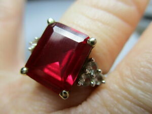 STERLING SILVER 925 ESTATE VERMEIL RADIANT RED RUBY WHITE TOPAZ RING SIZE 6.5