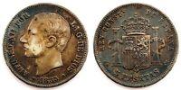 Spain-Alfonso XII. 5 Pesetas 1887*18-87 MSM. Madrid. Plata 25 g. Patina