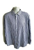 Thomas Dean Striped L/S Button Front Shirt Flip Cuffs Size XXL 2XL Purple