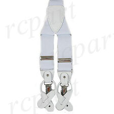New Y back Men's Vesuvio Napoli Suspenders Braces clip on formal party White