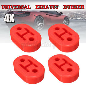 4pcs Red Universal Upgraded Heavy Duty Exhaust Rubber Hanger Support Mounts