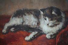 Joseph Thielemans, XIXe-XXe, Peinture animalière, Chat, 1940, Tableau ancien