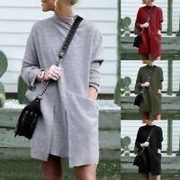 Fashion Womens Winter O- Neck Solid Color Long Sleeve Pocket Casual Mini Dress