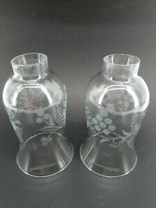 Sconce Light Shades Vintage Clear Glass Etched Frosted Grape Lot of 2 Chandelier