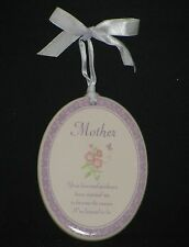 Russ Berrie MOTHER Ceramic Wall Plaque Sign w/ Hanging Ribbon  Lavender