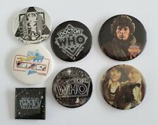 Lot Of 7 vintage Doctor Who Collectible Fan Club & Photo Pin Back Buttons