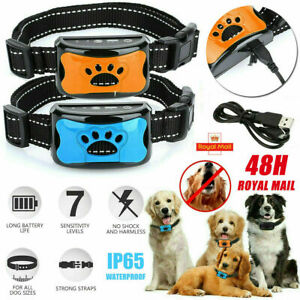 Rechargeable Anti Bark Collar Stop Dog Barking Sound&Vibration S/M/L Adjustable