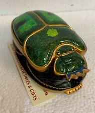 Egyptian Shiny Green Scarab Lucky Amulet Hieroglyphs on bottom Figurine Beetle