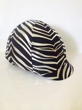 Horse Helmet Cover Zebra Black And Silver Print AUSTRALIAN  MADE