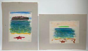 Walter Reinsel 1968 Maine nautical abstract painting pair Philadelphia artist