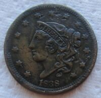 1838 1C BN Coronet Head Large Cent Sharp High Grade Details Corroded Small Digs