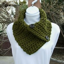 Dark Solid Olive Green NECK WARMER SCARF with Buttons, Crochet Knit Chunky Cowl