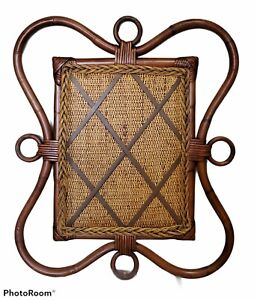 Vintage Boho Chic Memory/Memo Board Natural Bamboo & Wicker Jute Leather Straps
