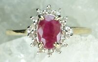 NEW Genuine Real Solid 9CT Yellow Gold Natural Ruby & Diamond Ring   Sizes J 1/2